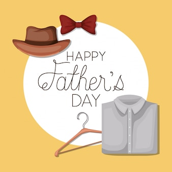 Happy fathers day and bowtie hanger hat and shirt design