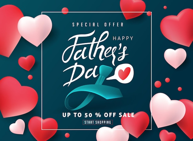 Happy fathers day calligraphy sale banner.