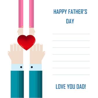 幸せな父の日カードとサインヴィンテージレトロ。父と息子または娘の手が互いに引き寄せられる