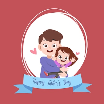 Happy fathers day card greeting vector illustration