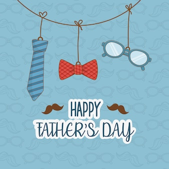 Happy fathers day card with accessories hanging