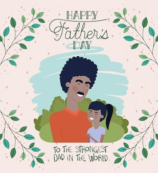 Happy fathers day card with black dad and daughter characters