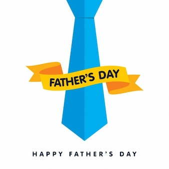 Happy fathers day card with blue tie with ribbon