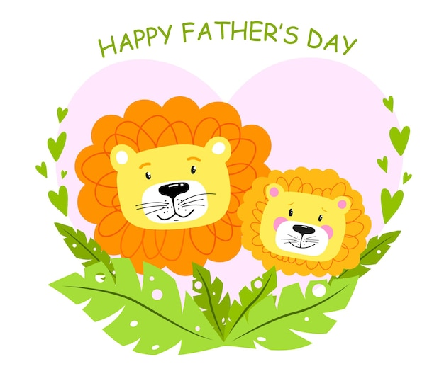 Happy fathers day card with cartoon lions