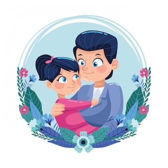 Счастливая отцовская открытка с папой, несущей дочь в цветочной рамке
