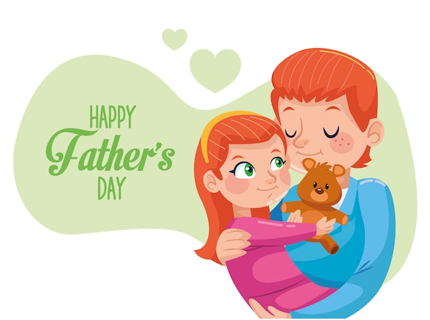 Happy fathers day card with dad carring daughter
