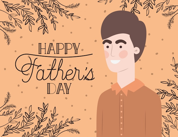 Happy fathers day card with dad and leafs plant decoration