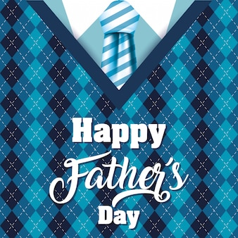 Happy fathers day card with elagant suit and necktie