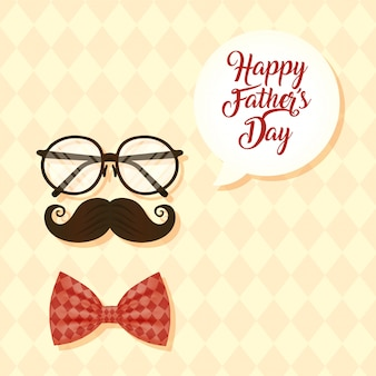 Happy fathers day card with eyeglasses and mustache