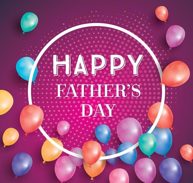 空飛ぶ風船と白いフレームの幸せな父親の日カード。コピースペースを持つ幸せな父の日のポスター。