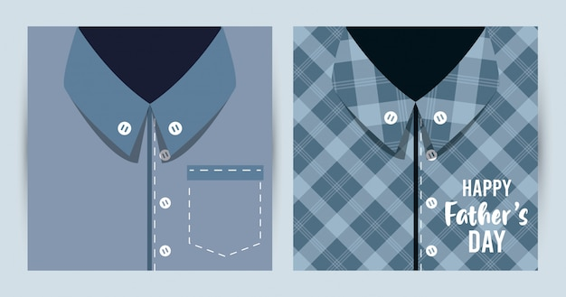 Happy fathers day card with male shirts