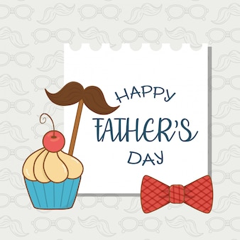 Happy fathers day card with mustache and cupcake