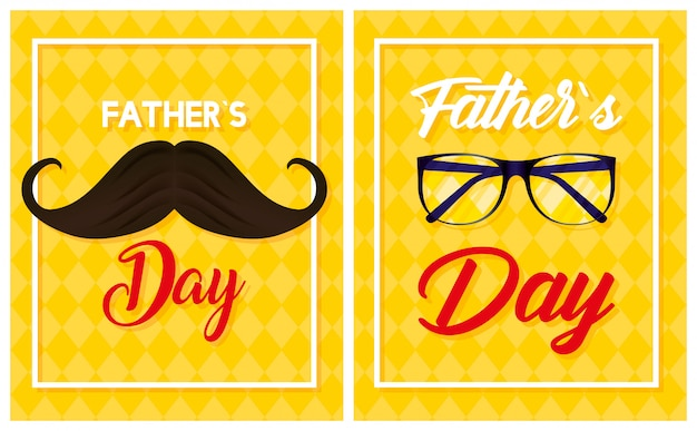 Happy fathers day card with mustache and eyeglasses