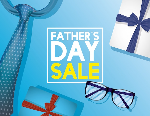 Happy fathers day card with neck tie and eyeglasses