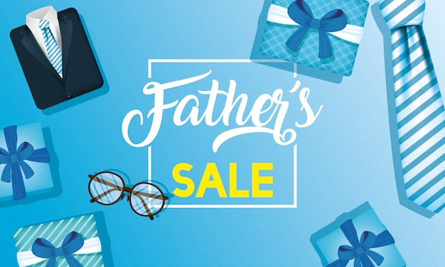 Happy fathers day card with necktie and gifts