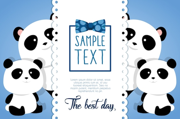 Happy fathers day card with panda bears