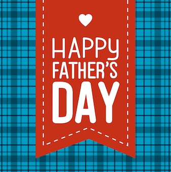 Happy fathers day card with ribbon and heart decoration