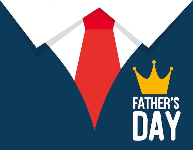 シャツとネクタイの装飾が施された幸せな父親の日カード