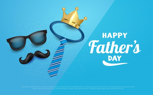 Happy fathers day crown and mustache background illustrations in blue.
