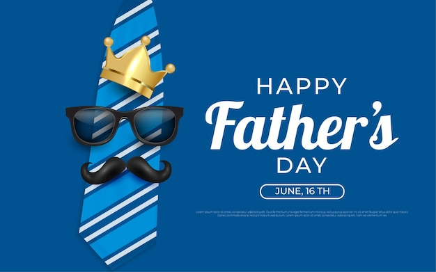 Happy fathers day crown and mustache background illustrations in blue