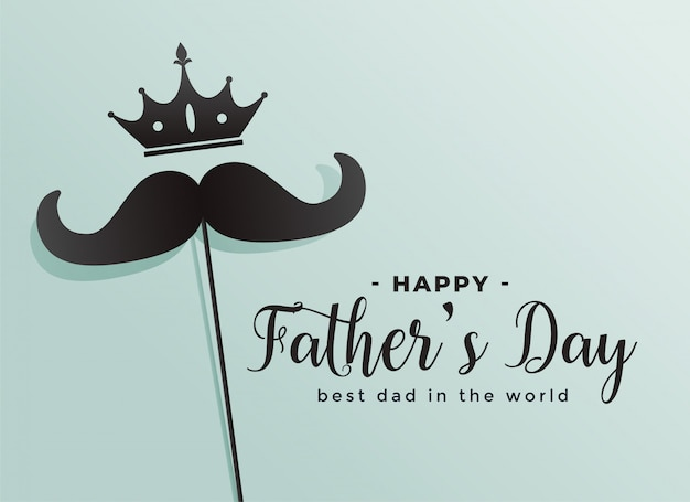 Happy fathers day crown and mustache background