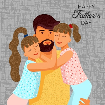 Happy fathers day. cute flat cartoon father and two daughters with text.  templates