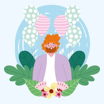 幸せな父の日、風船と花を持つお父さん文字