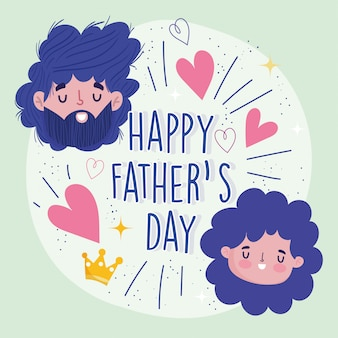 Happy fathers day, dad and daughter faces cartoon love greeting card