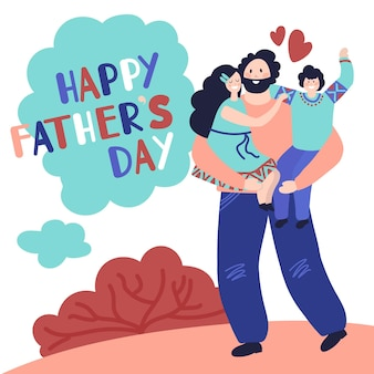 Happy fathers day. dad hugging child, celebrate card with fun male and kids. childhood, man spend time daughter son vector concept. father day, dad card holiday, celebration template illustration