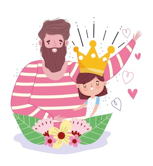 Happy fathers day, dad with daughter crown and flowers decoration