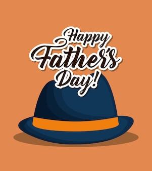 Счастливый день отца дизайн с шляпой значок