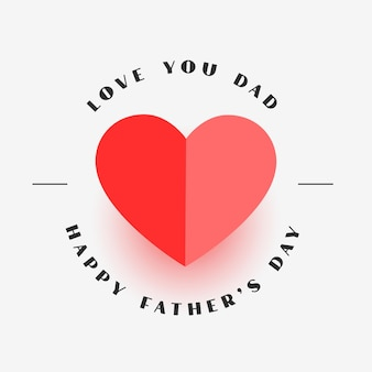 Happy fathers day elegant heart greeting