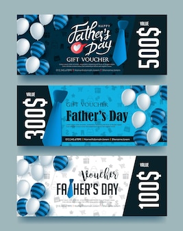 Happy fathers day gift voucher discount template.