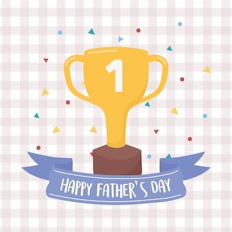 幸せな父の日、金のトロフィー賞を受賞した紙吹雪お祝い市松模様の背景