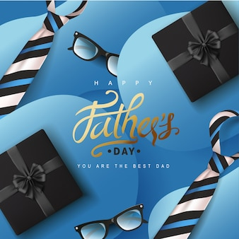 Happy fathers day greeting card background.