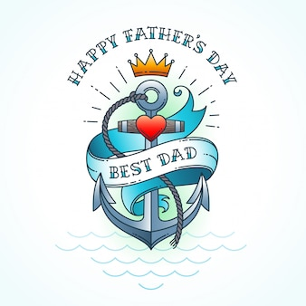 Happy fathers day greeting card, classic tattoo style design.   illustration.