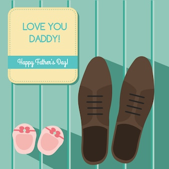 Happy fathers day greeting card design set with man s shoes and baby booties