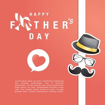 남자 이벤트, 배너 또는 포스터 해피 아버지의 날 인사말 카드.