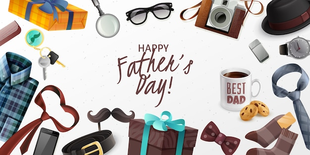 Happy fathers day greeting card horizontal banner with classic male accessories retro camera presents realistic