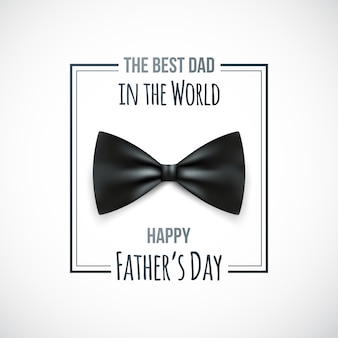 Happy fathers day greeting card with bow tie icon and text.