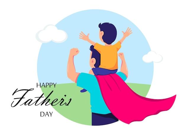 スーパー ヒーローの衣装を着たお父さんと息子との幸せな父の日のグリーティング カード