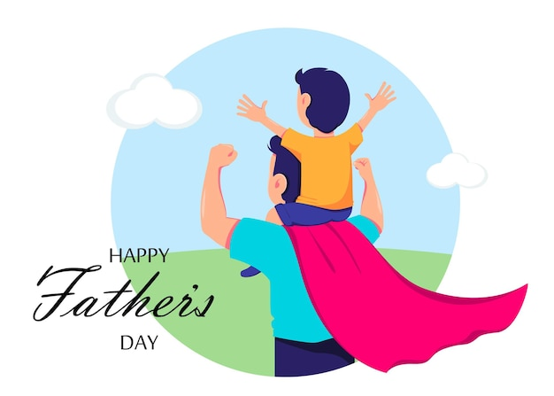 Happy fathers day greeting card with dad in superhero costume and his son