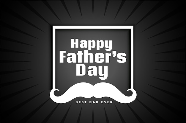 Happy fathers day greeting card with frame and moustache