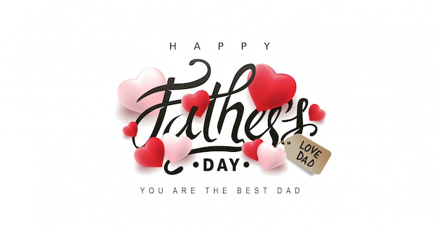 Happy fathers day greeting card with heart background.