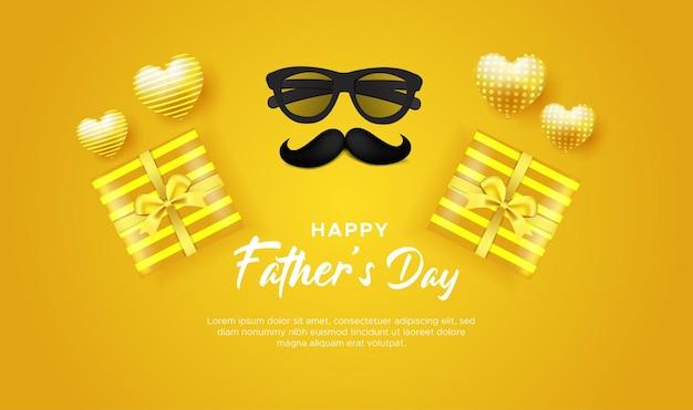 С днем отца поздравительная открытка желтая с очками, усами и подарочной коробкой