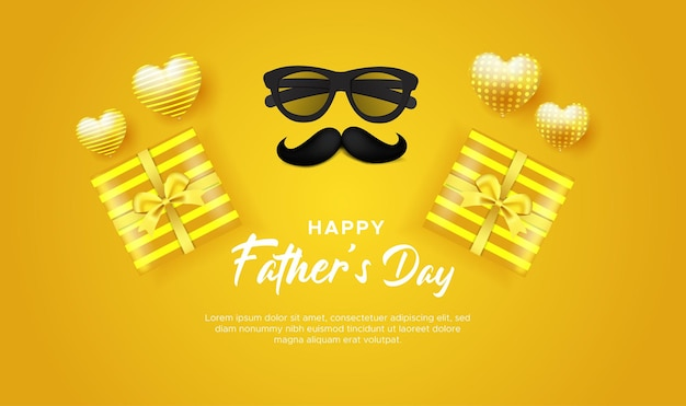 Happy fathers day greeting card yellow with glasses mustache and gift box