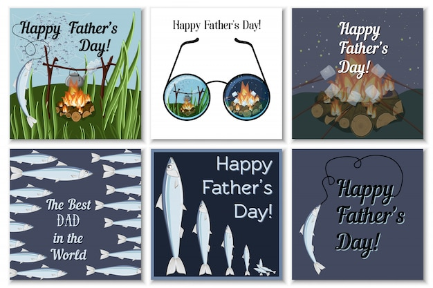 Happy fathers day greeting cards set for dad fisherman with campfire, roasting marshmallows, glasses, catching fish and text.