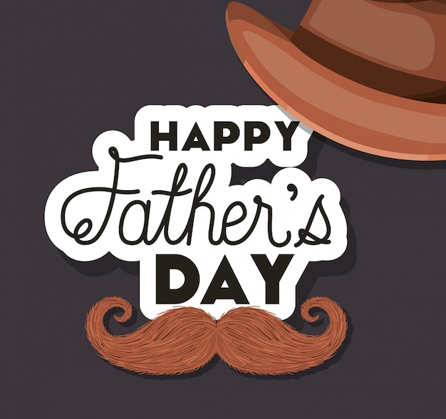 Happy fathers day hat and mustache design