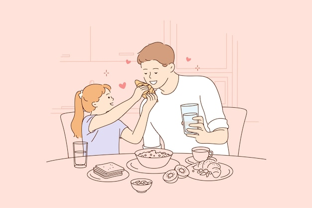 Happy fathers day, illustration of father and daughter spending time together