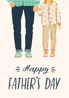 Happy fathers day.   illustration. man holds the hand of child.